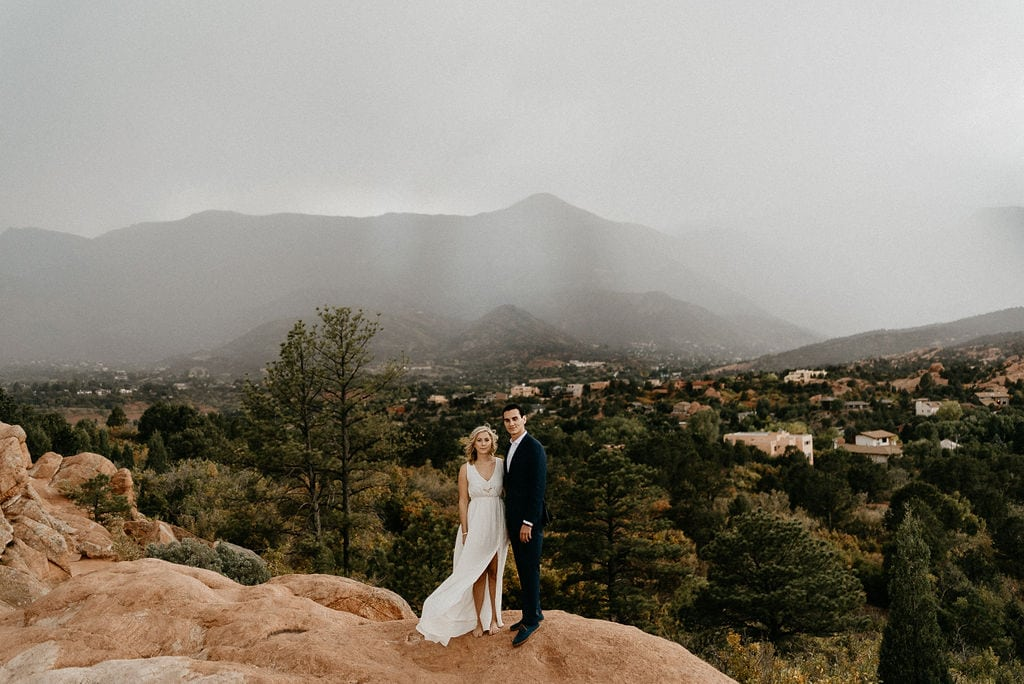 Rainy Garden of the gods Engagement Session