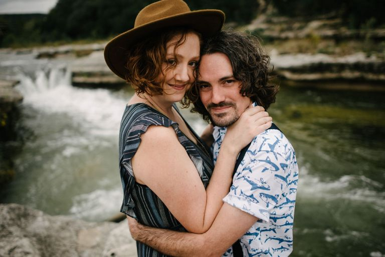 Greenbelt Austin Texas Engagement Session. Engagement by the river. Fedora