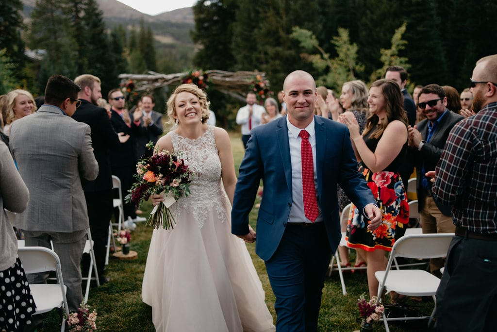 Bride and groom at their breckenridge wedding