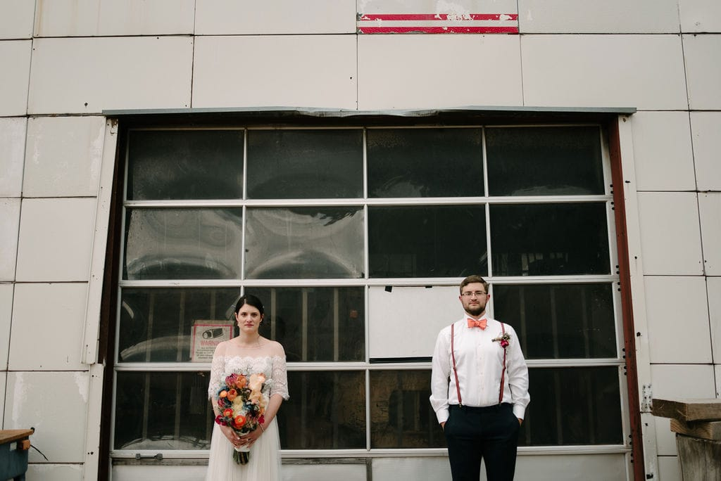 Urban wedding portrait at Rustic Lace Barn