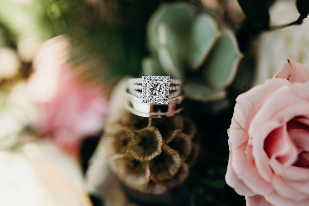 square cut halo engagement ring