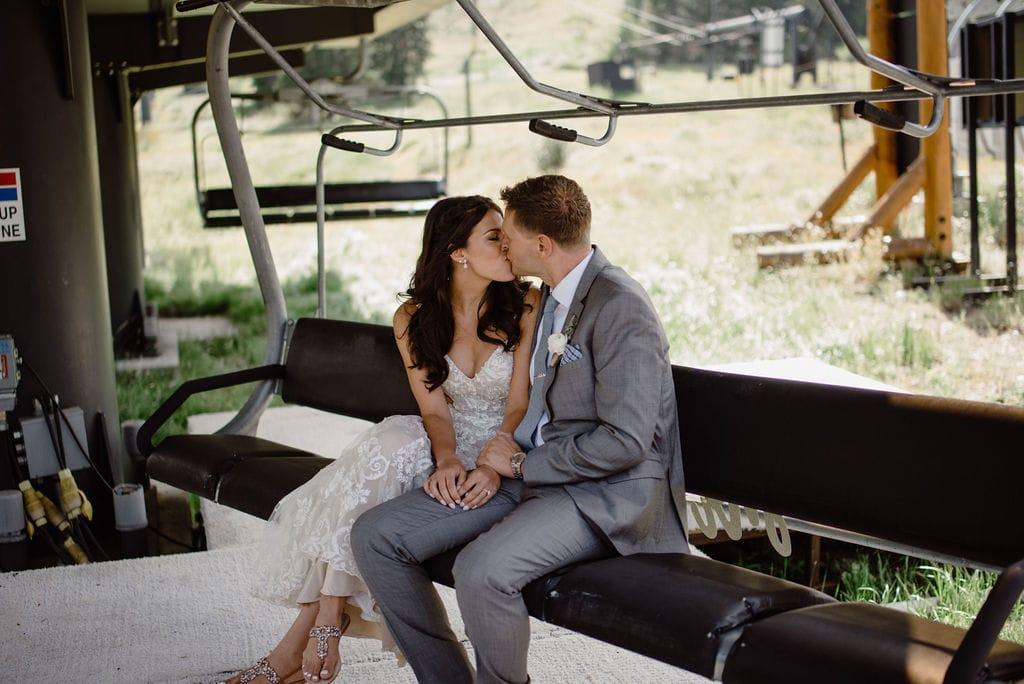 Bride and Groom on Winter Park Ski Lift