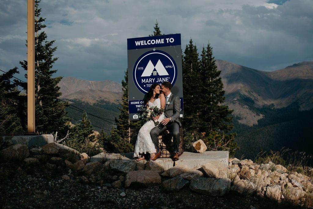 Bride and Groom Portraits in Winter Park, Colorado