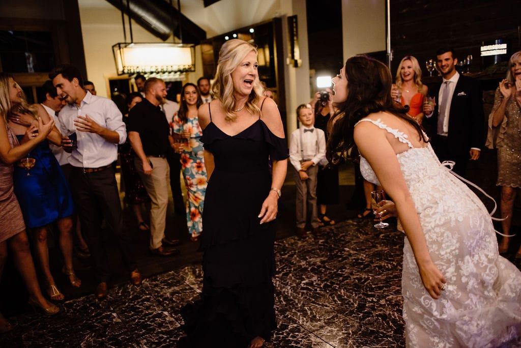 Guests Dancing at Lunch Rock Wedding Reception in Winter Park Colorado