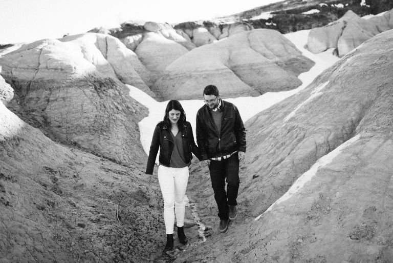 snowy paint mines engagement photos