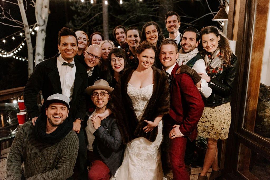 Backyard wedding reception in California