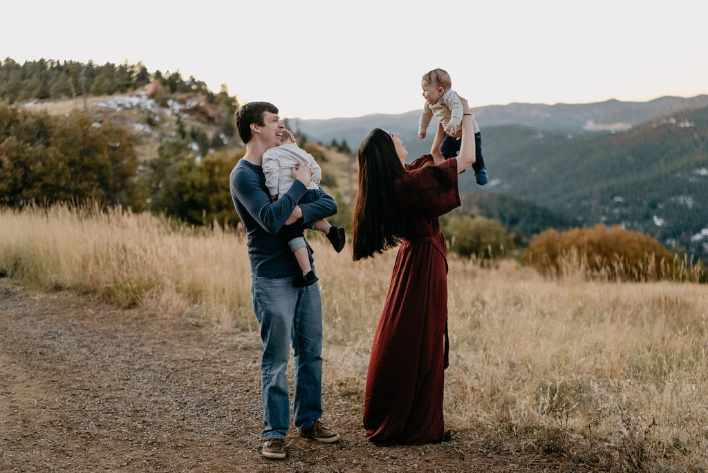 Adorable family in Colorado mountains