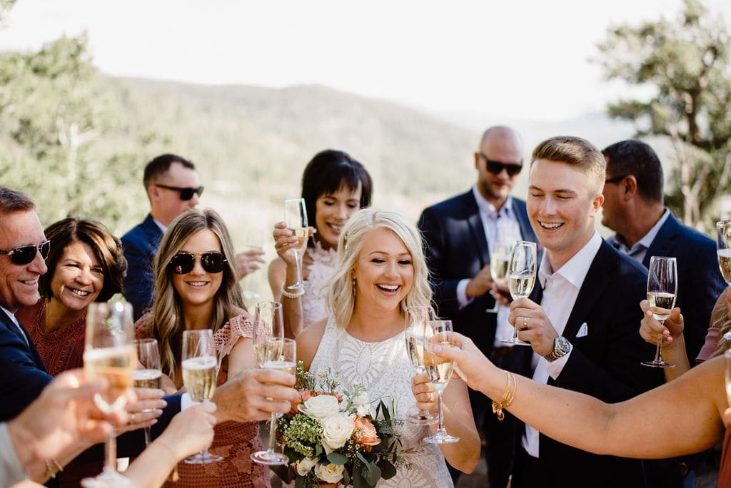 Wedding Toast with Bride and Groom