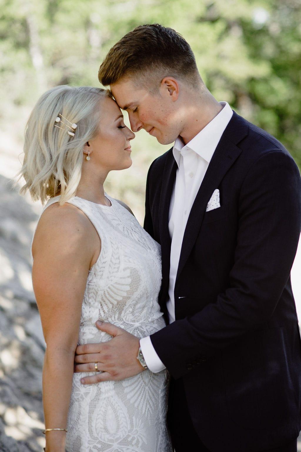 romantic wedding portrait of bride and groom