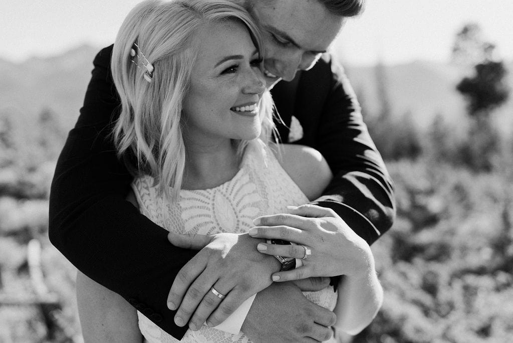 Bride and Groom Snuggle together for photo