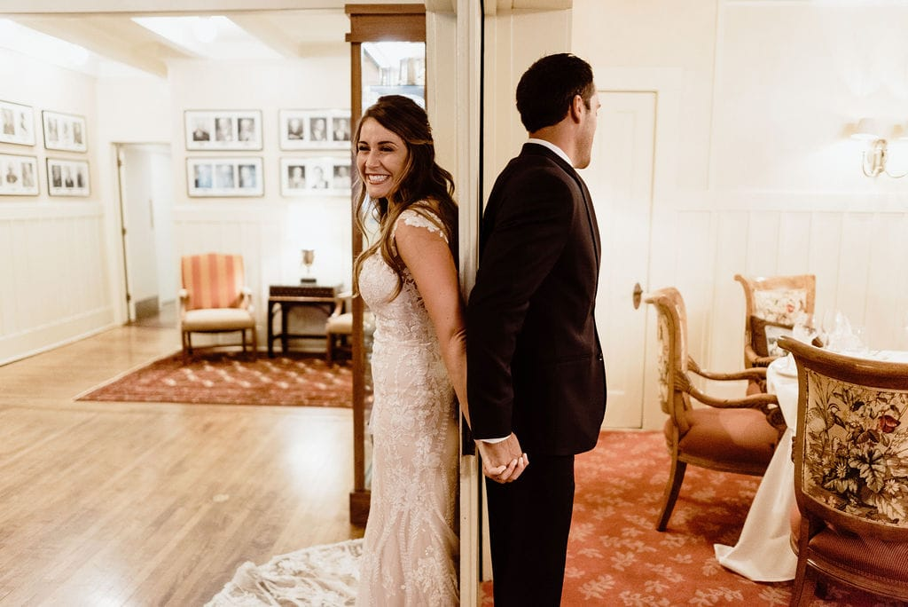 Bride and Groom First Touch at Cheyenne Mountain Country Club