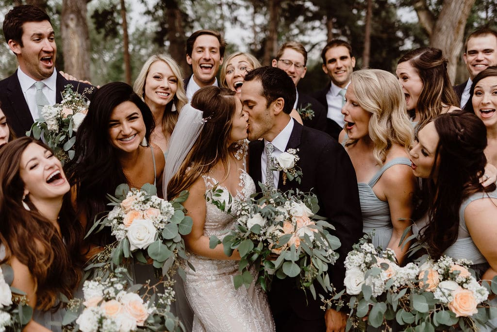 Bride and groom with their wedding party in Colorado Springs Wedding