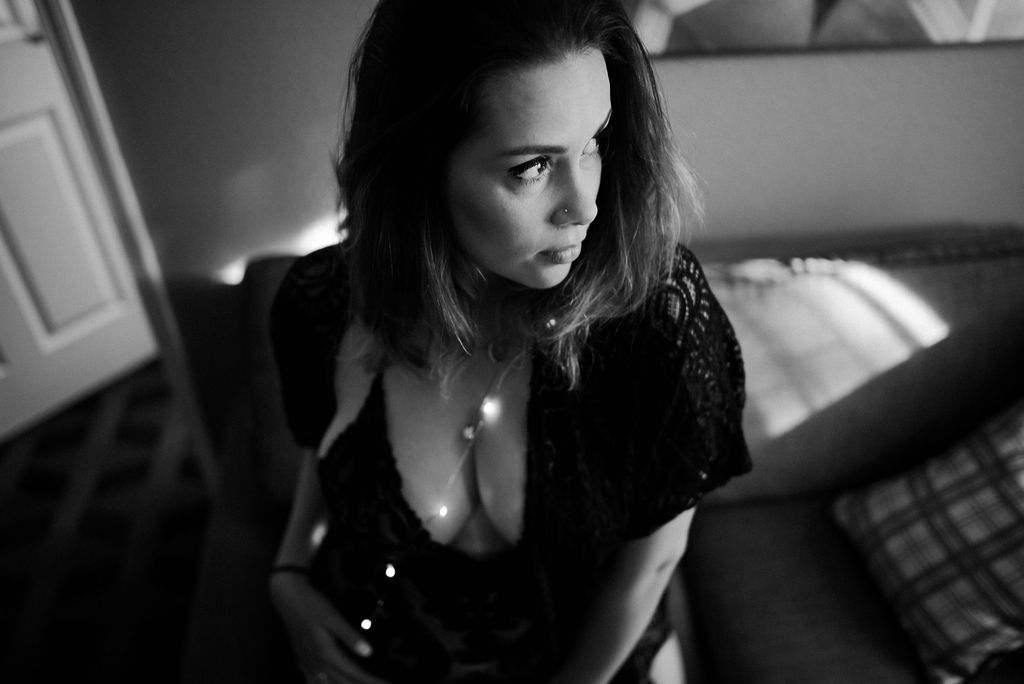 Boudoir Photography with string lights