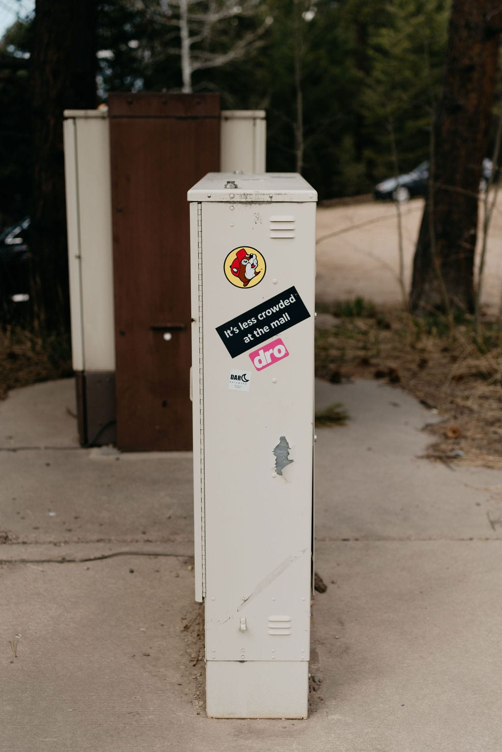 Buccees sticker on hiking trailhead