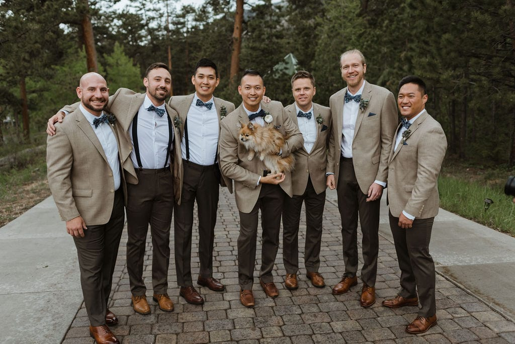 Groom and Groomsmen Portraits at Della Terra in Estes Park Colorado
