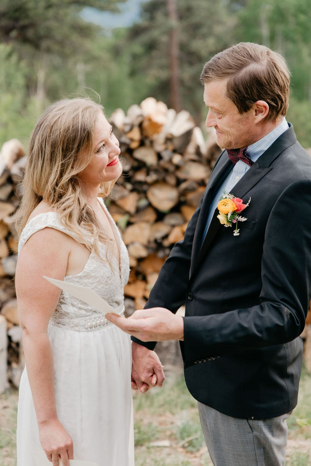 Colorado Elopement in Golden, Colorado saying their vows