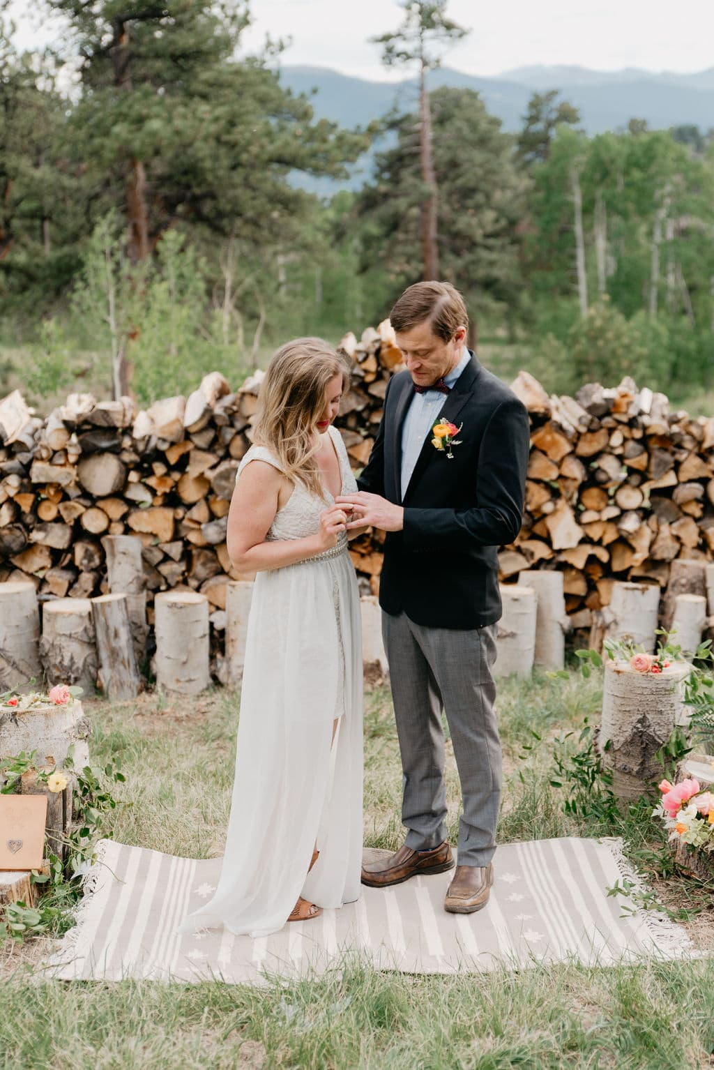 Colorado Elopement Location in Golden, Colorado exchanging rings