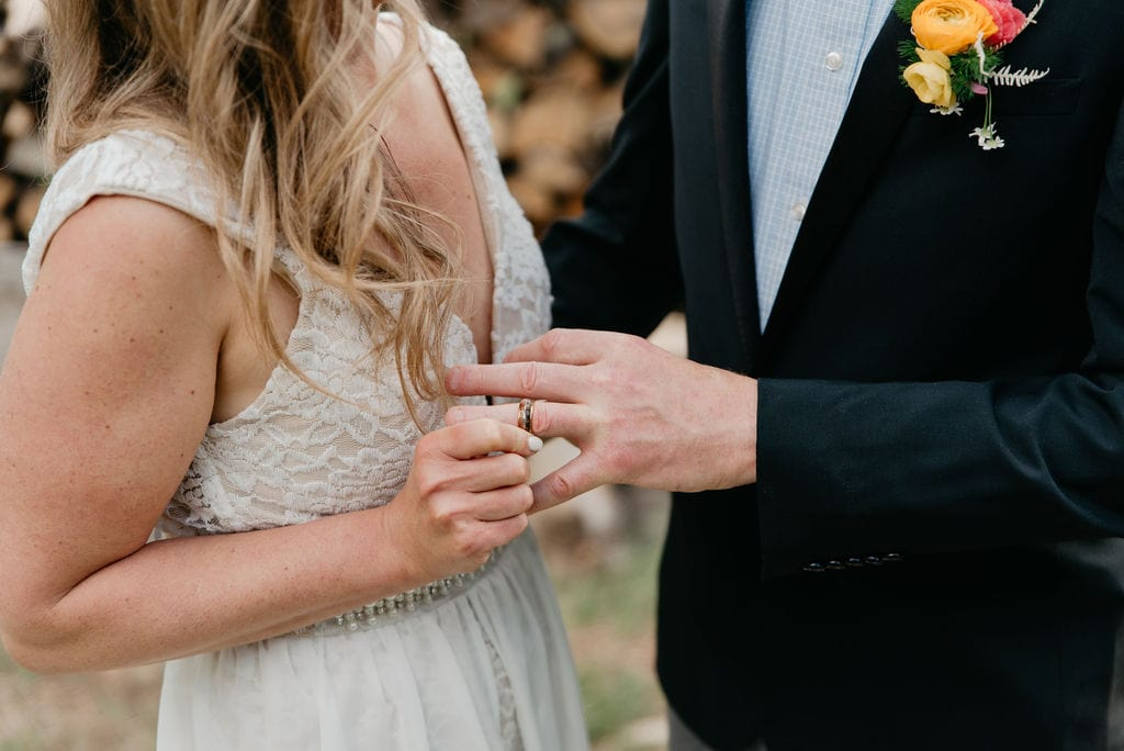 Colorado Elopement in Golden, Colorado exchanging rings