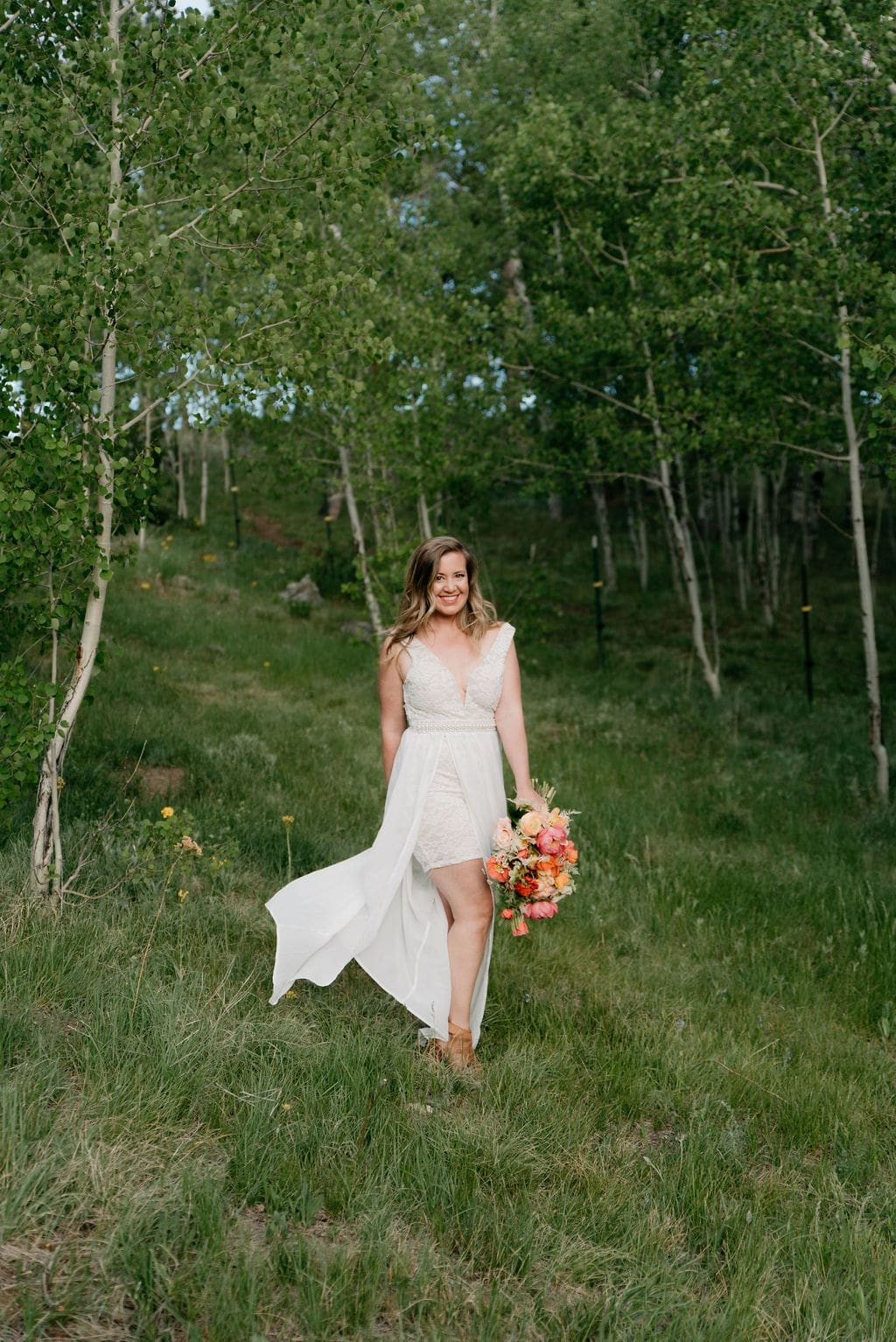 bridal portraits in golden colorado in an aspen grove