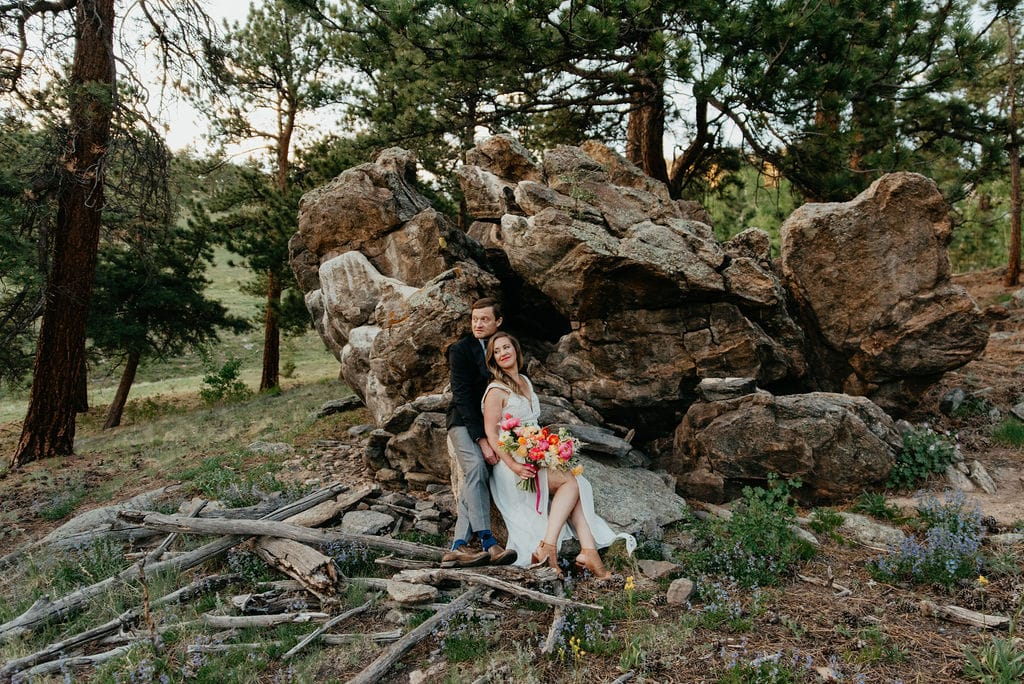 Romantic bride and groom portraits in golden colorado