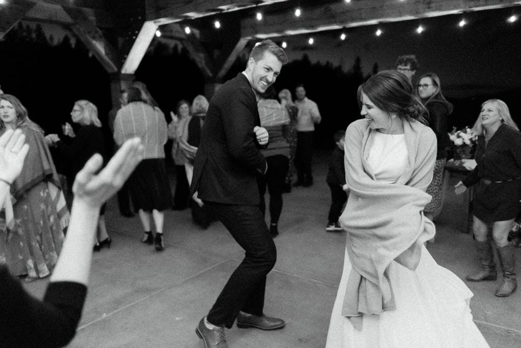 Guests Having Fun At Colorado Campground Wedding