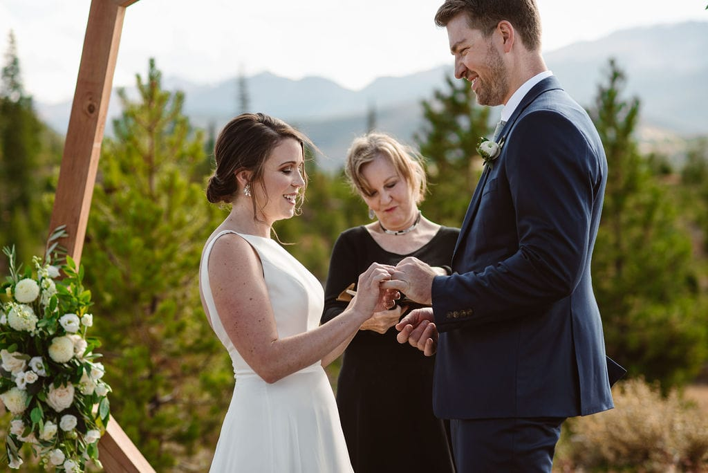 Ring Exchange at windy point campground wedding ceremony on Lake Dillon