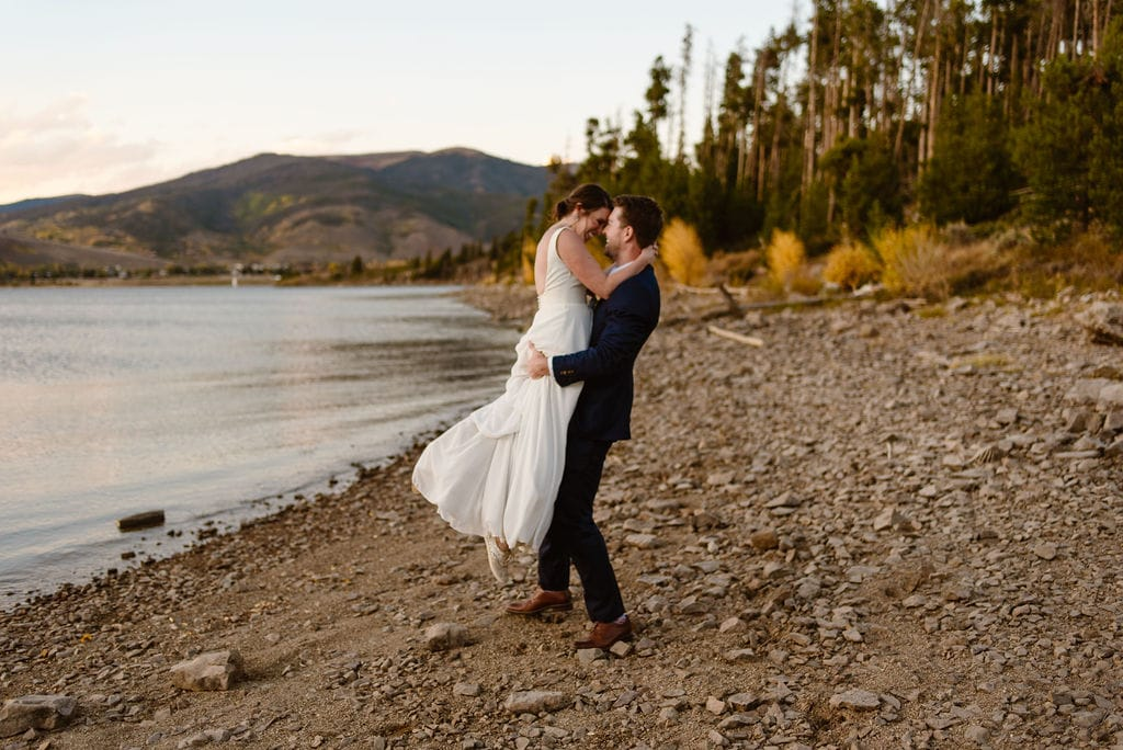Bride and Groom Wedding Day on Lake Dillon