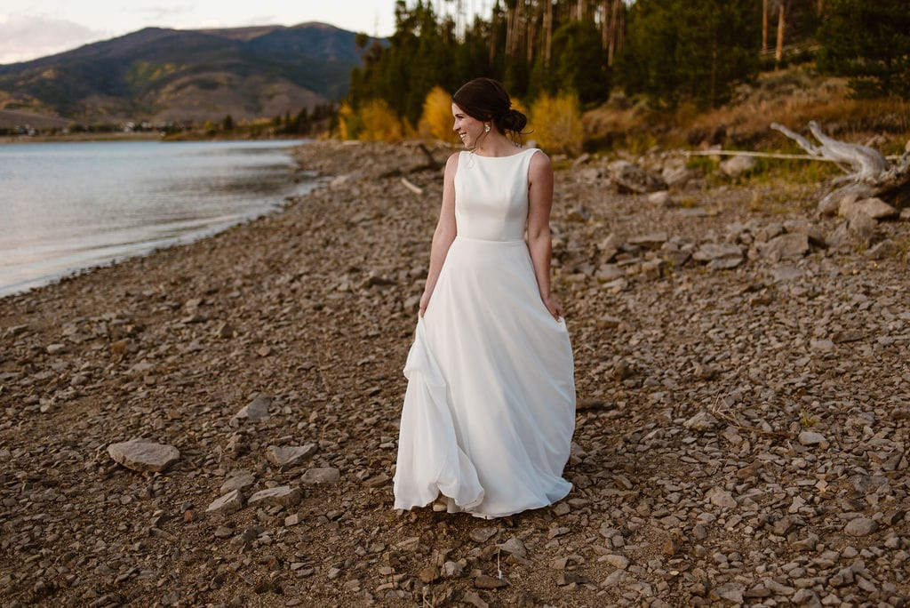 Sunset Wedding Day BRidal Portraits on the shore of Lake Dillon