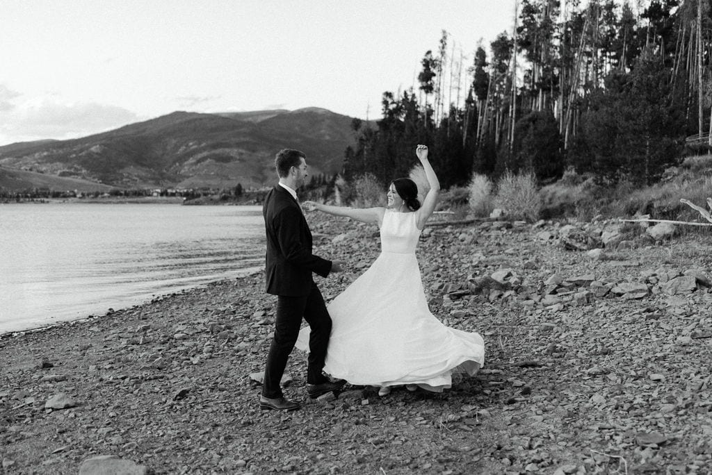 Dancing on the beach at lake dillon colorado