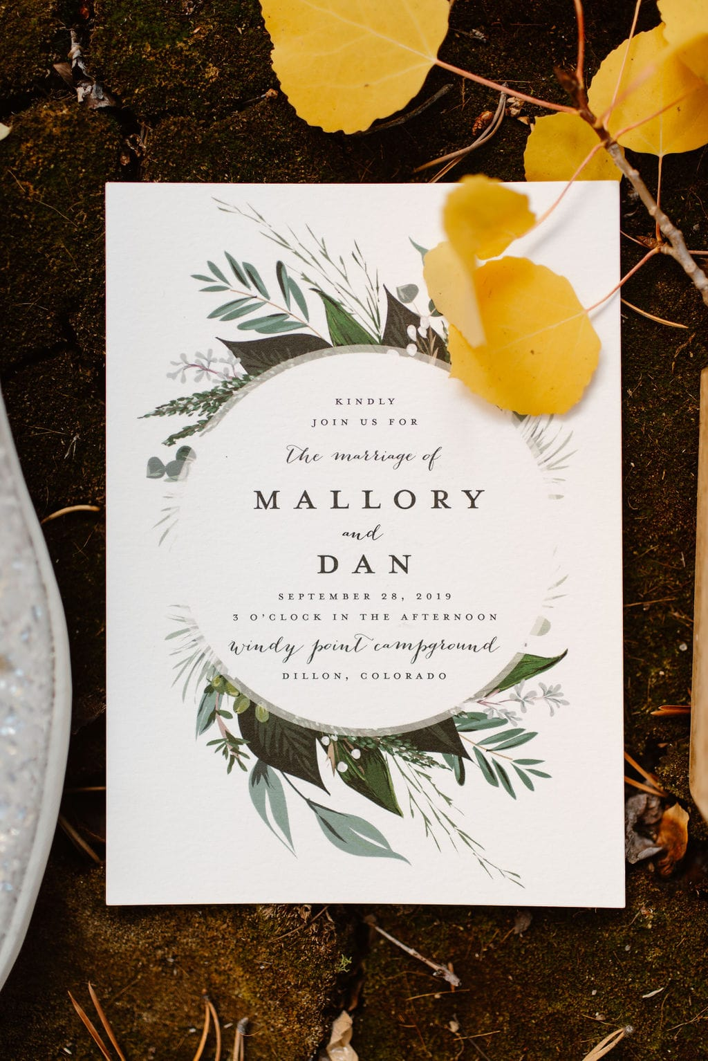Fall wedding invitation for Windy Point Campground Wedding