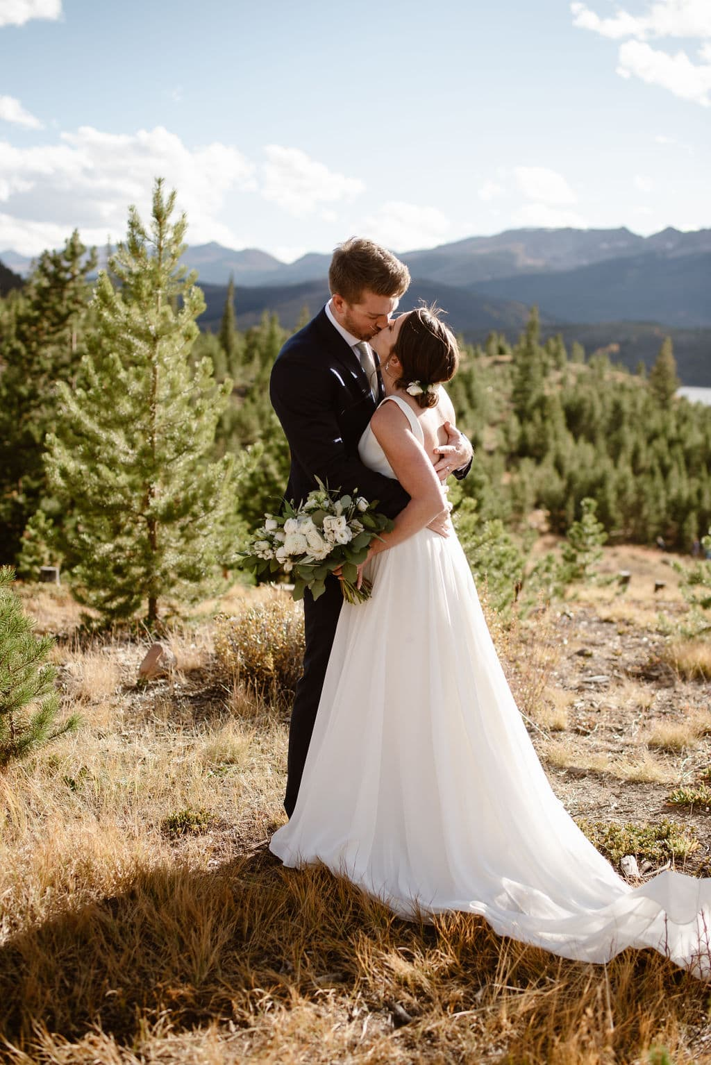 Romantic Bride and Groom Mountain Portraits at Lake Dillon in Colorado