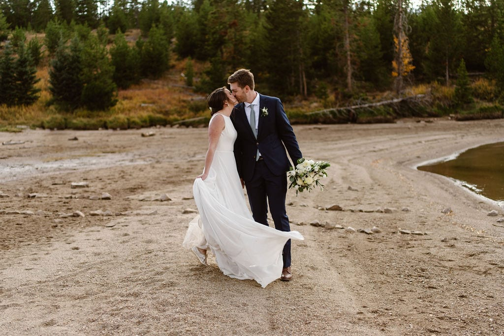 Bride and Groom Portraits at Lake Dillon's Windy Point Campground