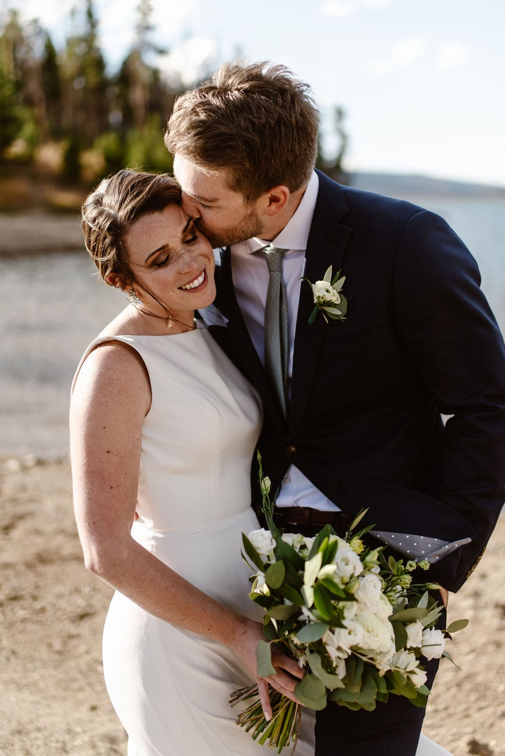 Bride and Groom Portraits at Lake Dillon