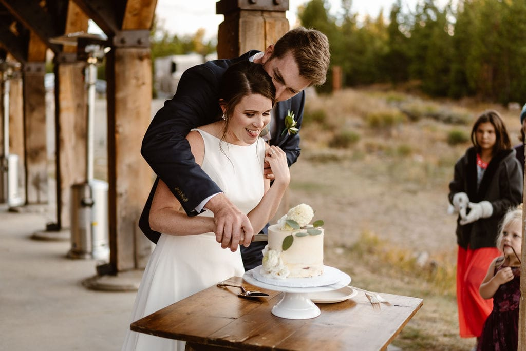 Cake Cutting at Windy Point Campground Wedding Reception