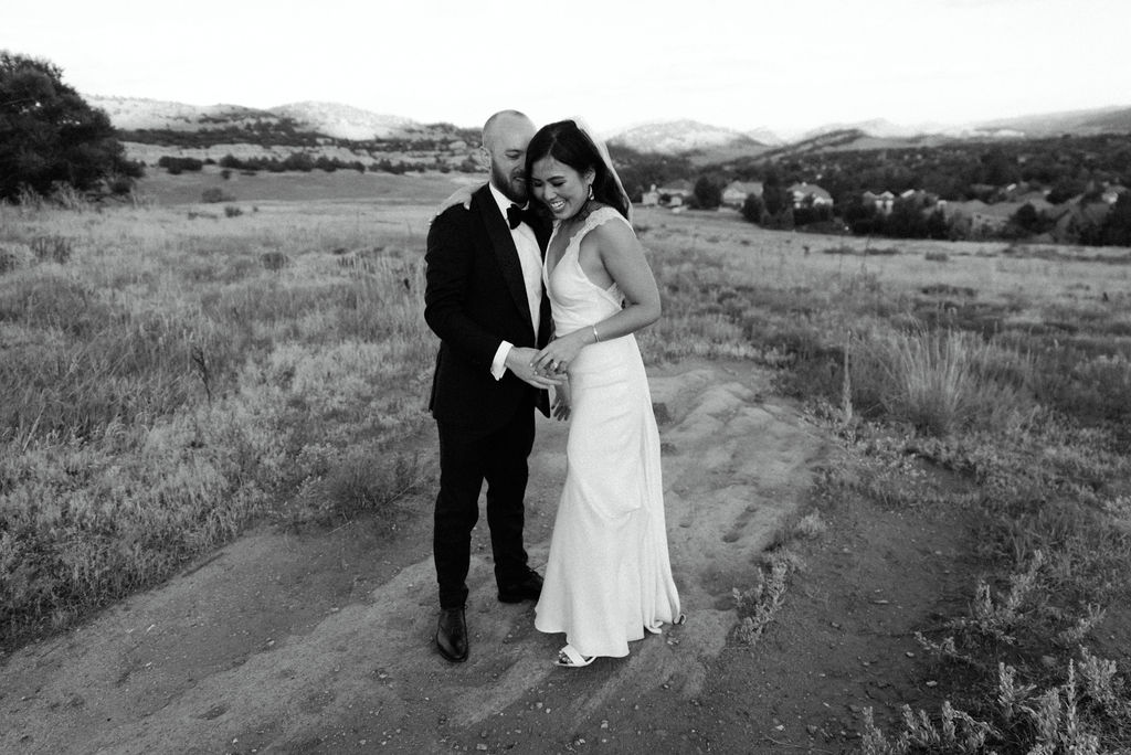 Bride and Groom on their wedding day in Colorado