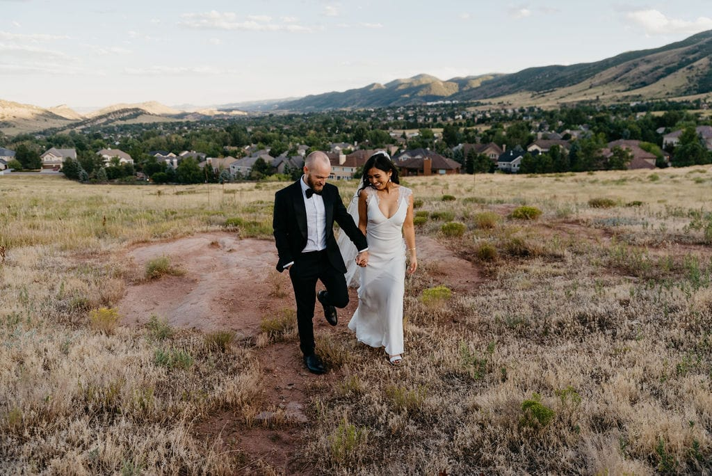 Bride and Groom Sunset Portraits in Littleton, CO
