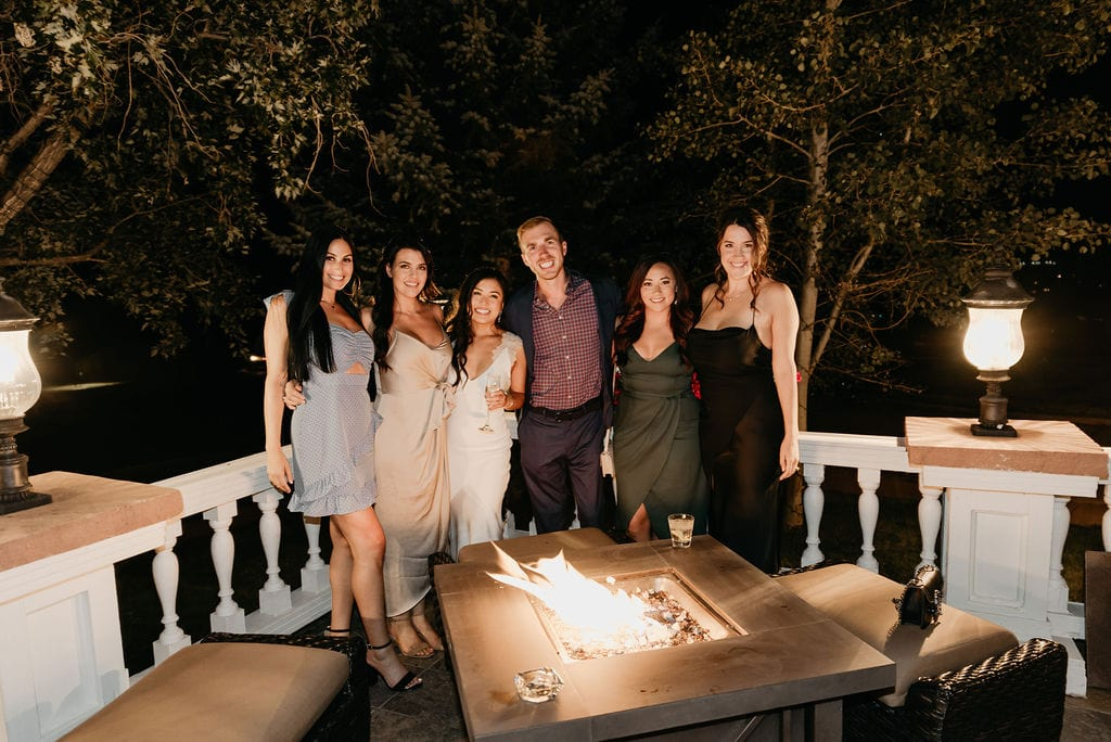 Night Photo of the bride and her friends at her Manor house Wedding