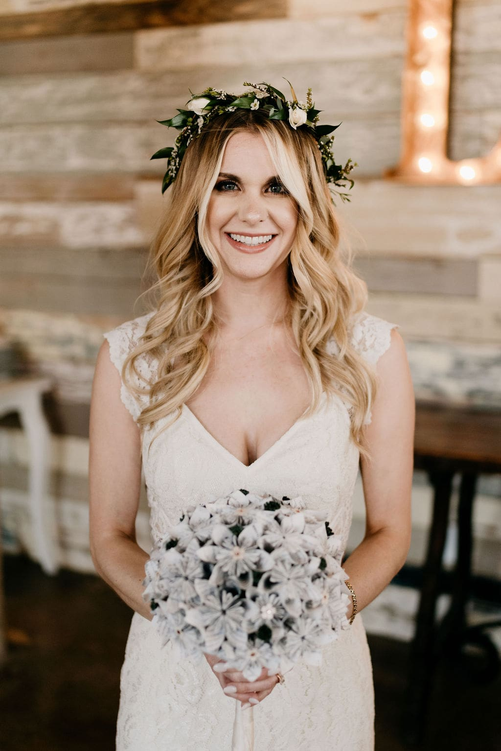Bride with her harry potter paper bridal bouquet