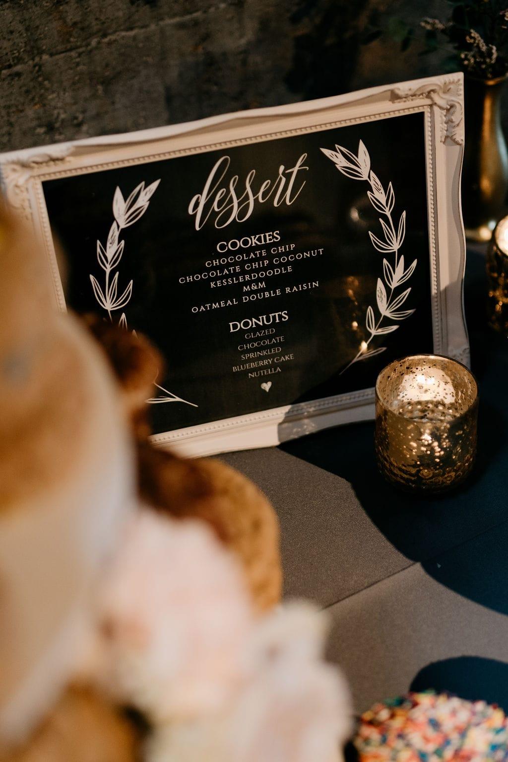 Dessert sign at wedding