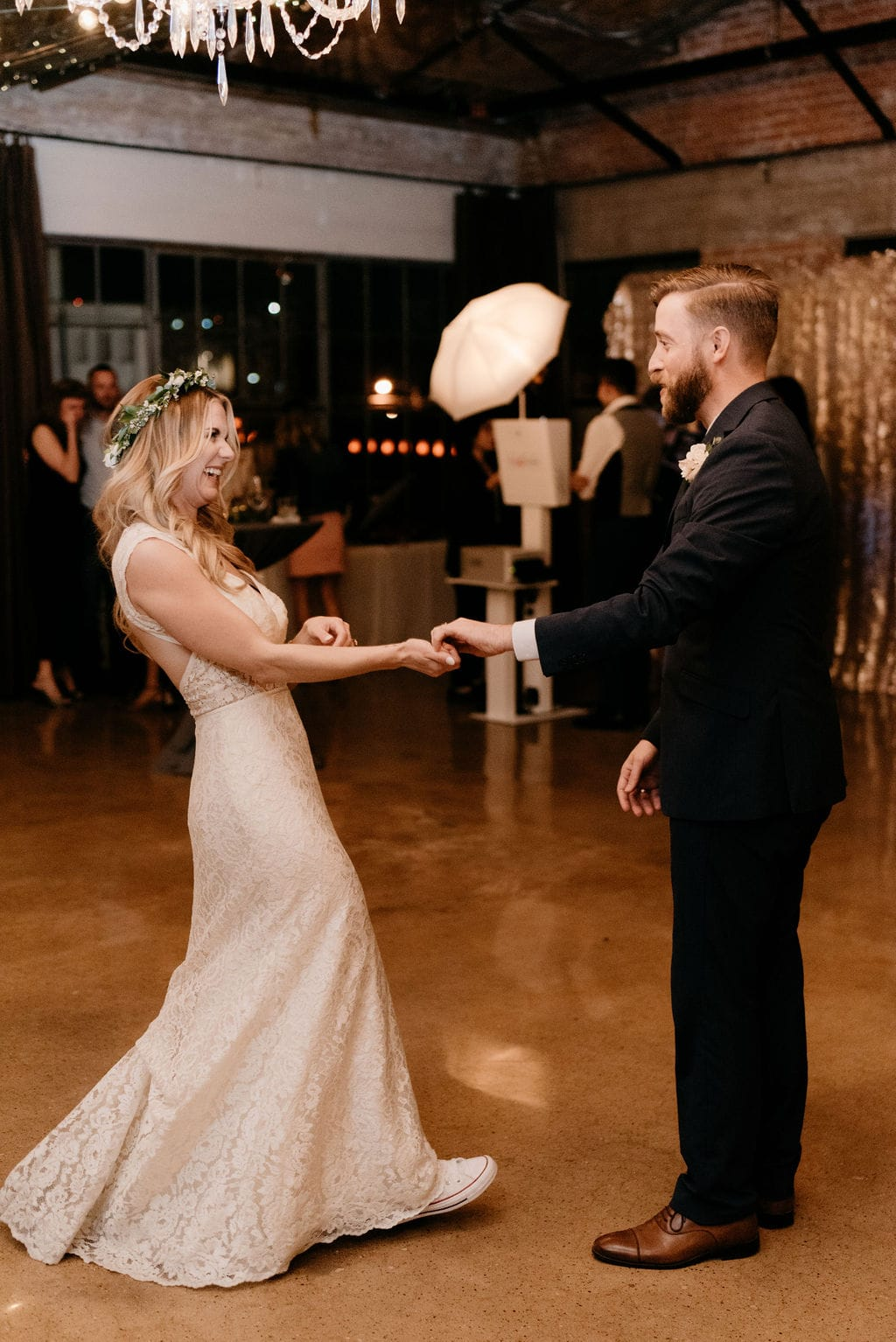 First Dance between bride and groom at hickory street annex wedding reception in Deep ellum