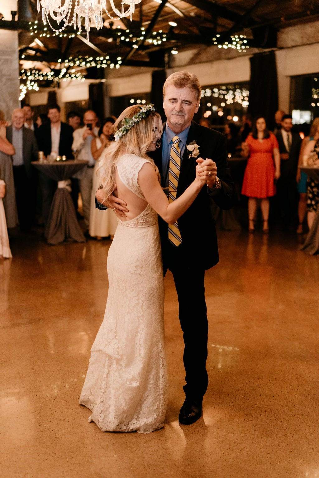 Father Daughter Dance between bride and groom at hickory street annex wedding reception in Deep ellum