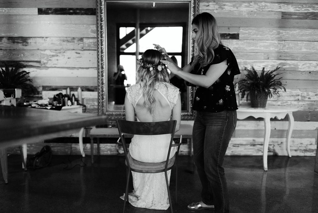 Bride getting ready at dallas wedding at hickory street annex