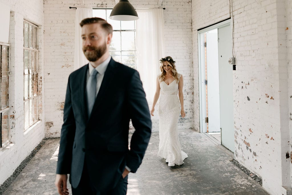 Bride and Groom First Look at hickory street annex dallas wedding venue
