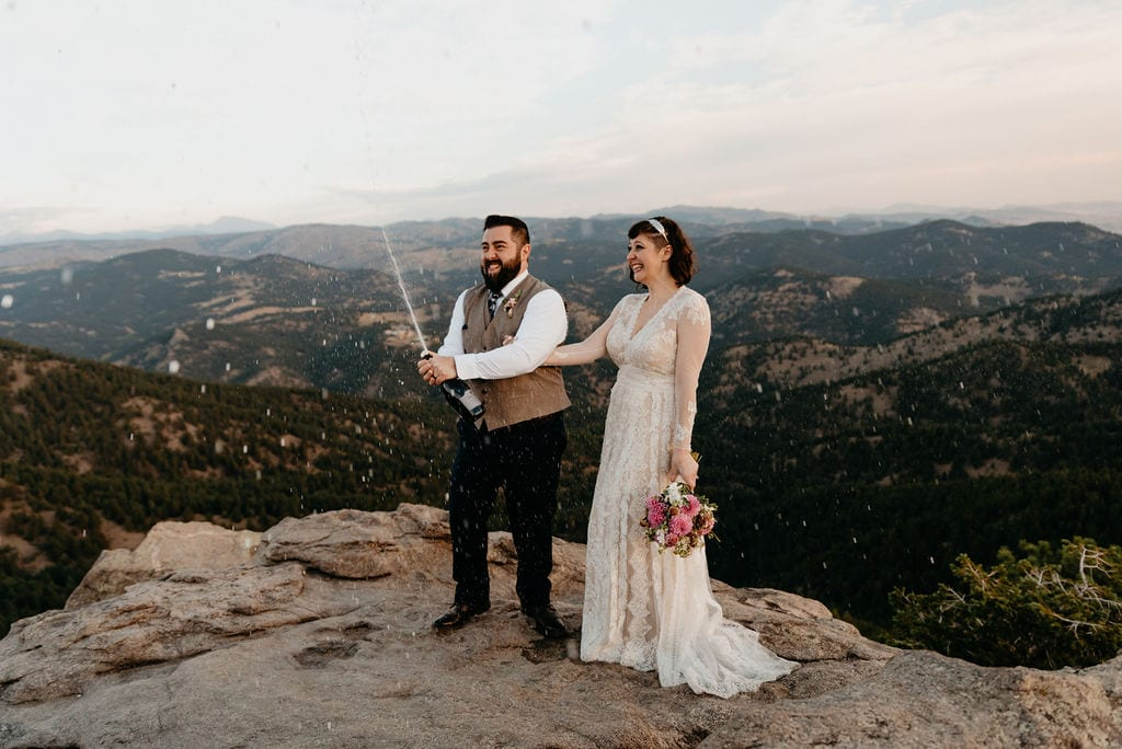 Champagne at Lost Gulch Elopement Boulder Colorado