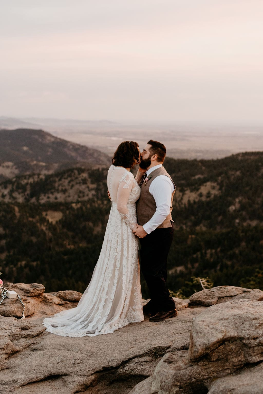 Bride and Groom First Kiss at Lost Gulch Elopement