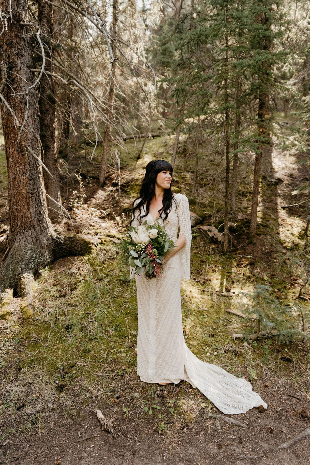 Bridal Portrait in the forest at mountain view ranch colorado