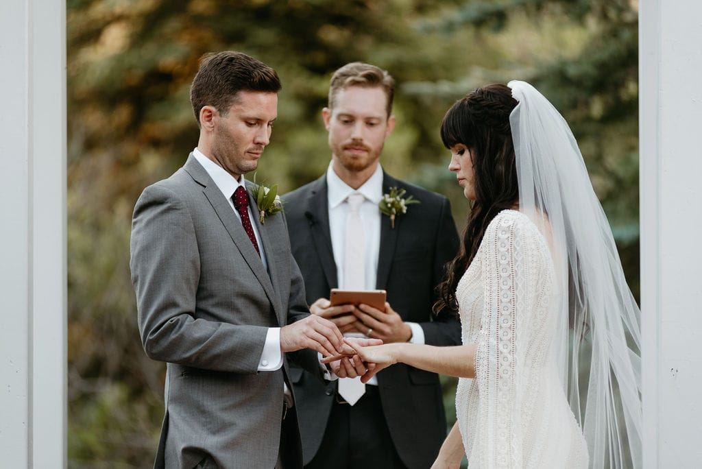 Ring Exchange at Mountain View Ranch Wedding Ceremony
