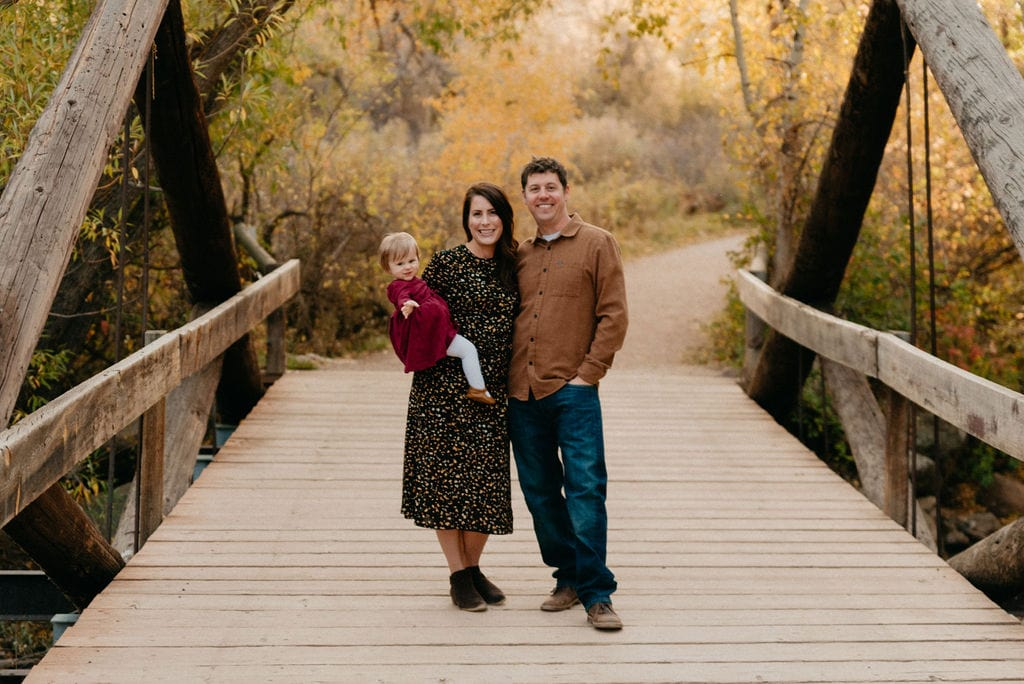 Boulder Family session at sunrise on the bridge at south mesa trailhead