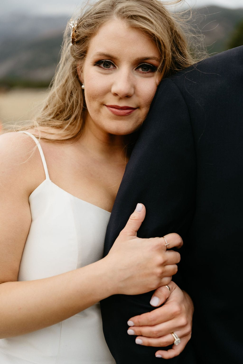Romantic photo of bride on her wedding day in estes park