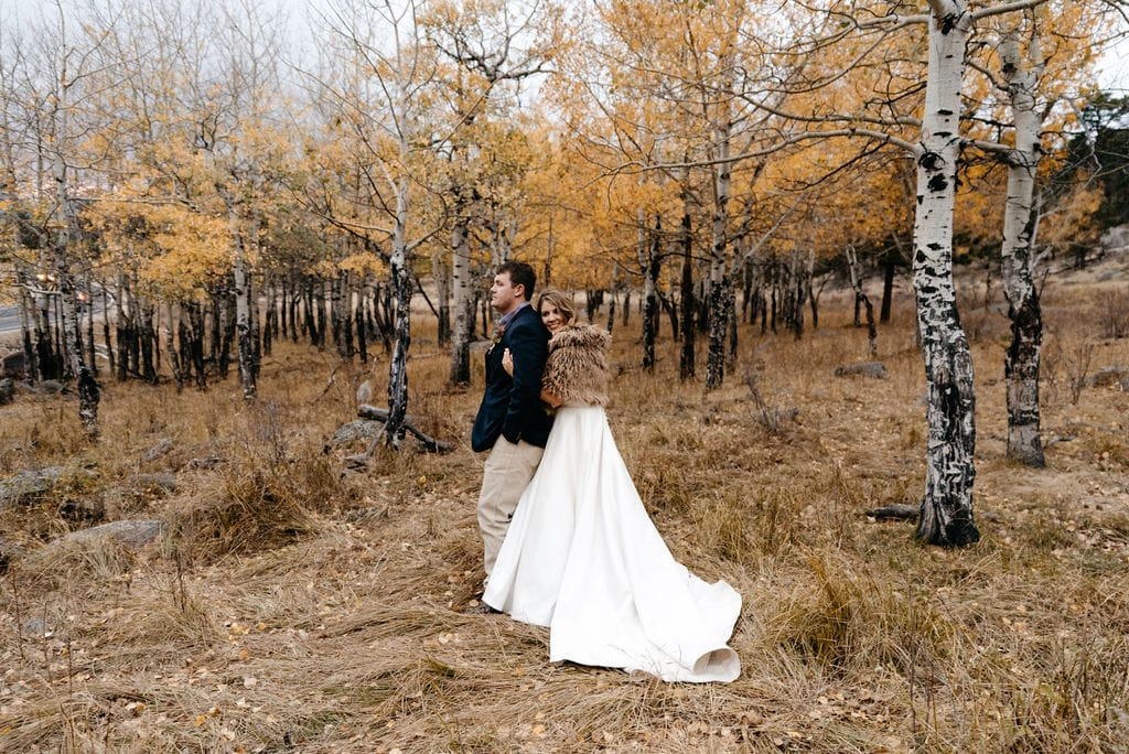The last bit of fall color at this rocky mountain national park elopement